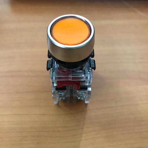 Nút nhấn có đèn, viền nhôm phi 25 1NO + 1NC, màu vàng MRF-NM1Y Hanyoung