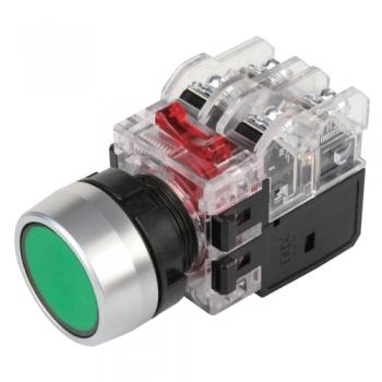 Nút nhấn không đèn, viền nhôm phi 25 1NO + 1NC, màu xanh lá MRF-NM1G Hanyoung